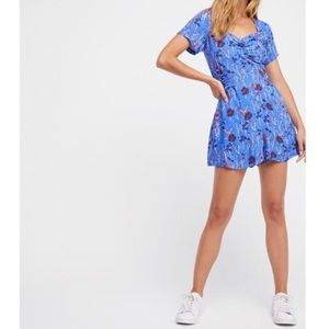 Free People Bet You Do Blue Floral Romper